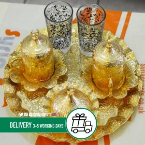 Syria-Sweet-Designs-Round-golden-tray-with-two-tea-cups