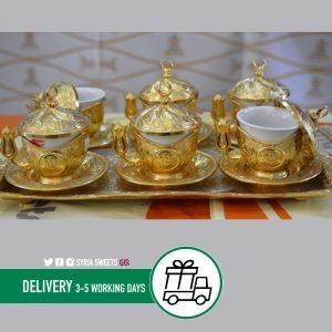 Syria-Sweet-Designs-6-Golden-Coffe-Cups-with-tray